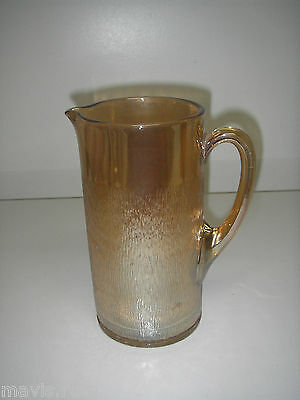 "Imperial Glass TREE BARK Marigold Carnival Pitcher 48 oz 8½""."