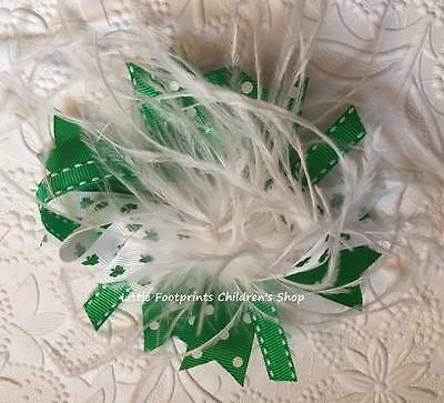 Green & White St. Patrick's Day Shamrock Feather Hair Bow 5""