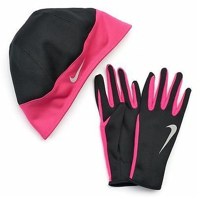 Womens *NEW* Nike Dri-fit running gloves & beanie hat Size L Large Black/pink