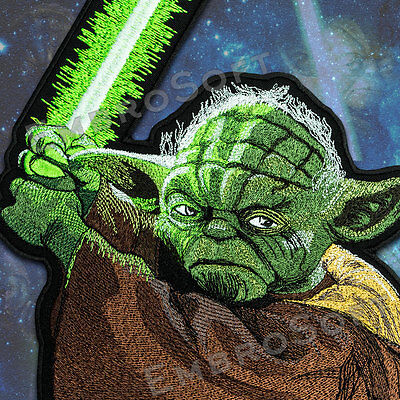 Large Patch Master Yoda STAR WARS IRON&SEW ON 8.9 x 15.8 and 5.9 x 10.5 inches