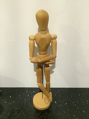 "Vintage 12 1/2"" Articulating Wood Artist MALE Model Jointed Figure w/Wooden Base"