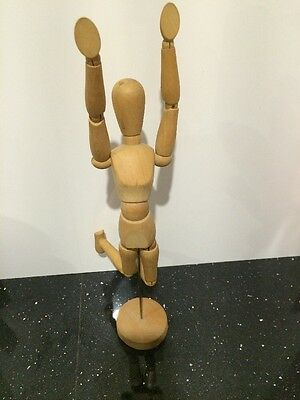 "Vintage 12 1/2"" Articulating  Artist FEMALE Model Jointed Figure w/Wooden Base"