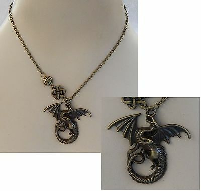 Gold Celtic Knot Dragon Pendant Necklace Jewelry Handmade NEW Chain Adjustable
