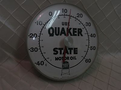 """Vintage 1960's Quaker State Motor Oil 12"""" Metal & Glass Thermometer Sign"""