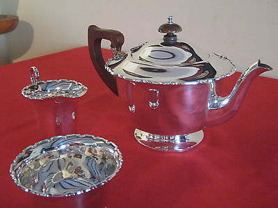"VERY STYLISH ART DECO 1938,""TEA FOR TWO"" SOLID SILVER 3pce TEA SET. LOVELY SET."