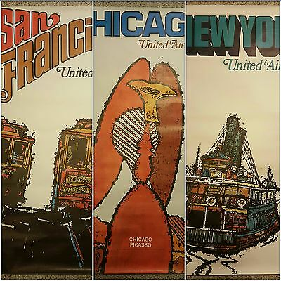 LOT 3 UNITED AIRLINES 1967 Travel Posters SAN FRANCISCO NEW YORK CHICAGO Galli