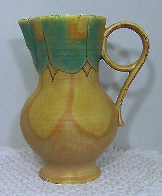 """Vintage CROWN DEVON Tall Pitcher with Stylized Handle 9-5/8"""""""