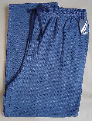NWT $34 NAUTICA Mens L PAJAMA LOUNGE PANTS Cotton Knit FLANNEL Blue Herringbone