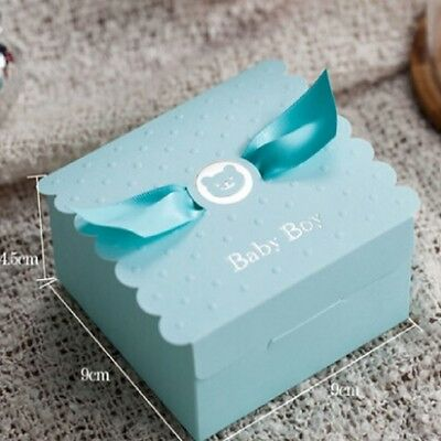 10pcs High Quality Baby Shower Christening Favor Boxes Ribbon Girl Pink Boy Blue
