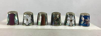 6 Vintage Mother of Pearl Sewing Thimble Group Alpaca Mexico