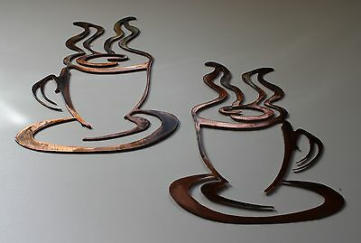 COFFEE CUPS set of 2 COPPER & BRONZE PLATED METAL WALL ART DECOR