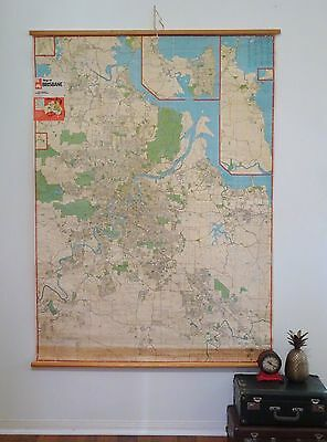 Original Vintage Pull Down Wall Map of BRISBANE City by UBD