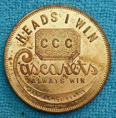 Cascarets Token ~ Heads I Win ~ Tails You Lose ~ Best for the Bowels MILWAUKEE