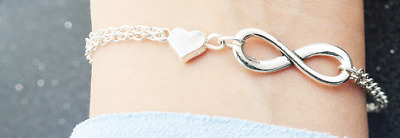 New Women's Infinity Bracelet Heart Charm Double Linked Chain Silver/Gold Plated