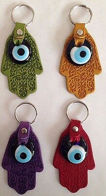 Traditional Protection HAMSA With Evil Eye KeyChain, Leather Key Chain