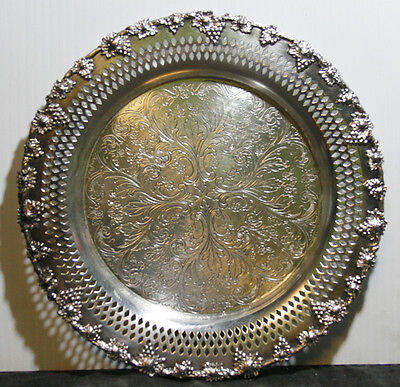 Vintage Grape & Vine Old English Reproduction Silver Plate Footed Tray