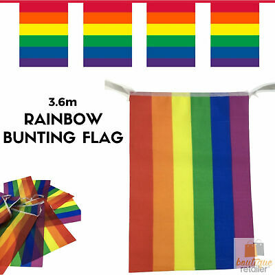 3.6m RAINBOW BUNTING FLAG Party Banner Market Stall Flags Decor Gay Pride LGBT
