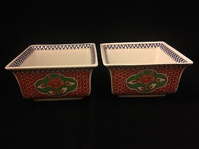 Vtg Japanese Porcelain Square Bowls Set of 2