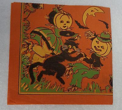 Halloween Vintage Lady And Gent Scarecrows Dancing With  Black Cat Orange Napkin