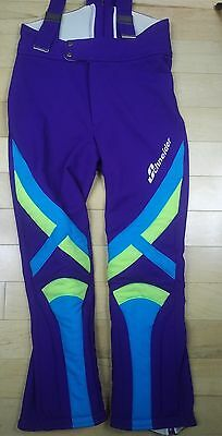 Vintage SCHNEIDER Vtg Ski PANTS Purple Yellow Light Blue Made In Austria