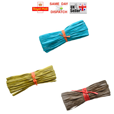 22 COLOURS, Raffia Paper Gifts Ribbon Decorating Scrapbooks MULTIAUCTION FAST