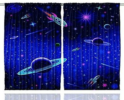 Kids Curtains By Ambesonne, Outer Space Orbit Rocket Galaxy Stars Milkyway Art