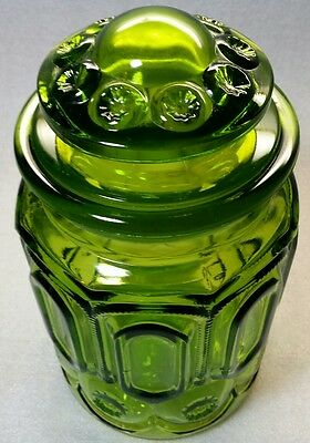 """Vintage LE Smith Green Glass Emerald  Moon and Stars  Apothecary Canister 9.5"""""""