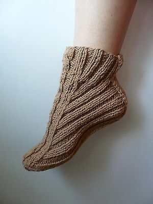 Booties Home Slippers Hand Knit Womens Brown Warm Ukraine New