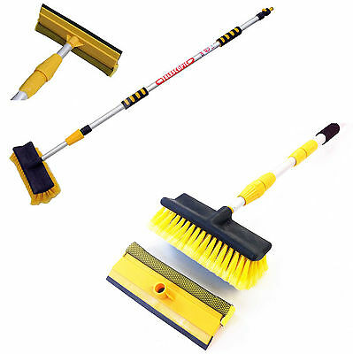 3M Water Fed Extendable Telescopic Pole Wash Brush & Squeegee Long Reach Cleaner