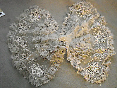 Vintage Collar BOW Tulle Edwardian 20s Antique Embroidery 8x10""