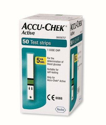 ACCU CHEK Active 50 Sheets Test Strips Diabetic Blood Glucose Medical Check