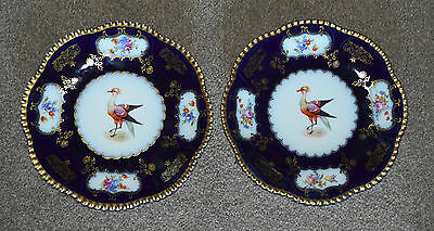 Antique Porcelain Hand Painted Royal Czechoslovakia Cabinet Plate Pair of