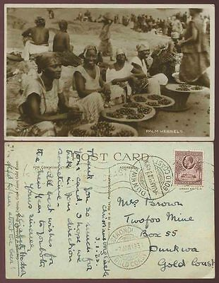 GOLD COAST to DUNKWA SEKONDI S.O REMOVED 1935 PPC REAL PHOTO from LADY HODSON