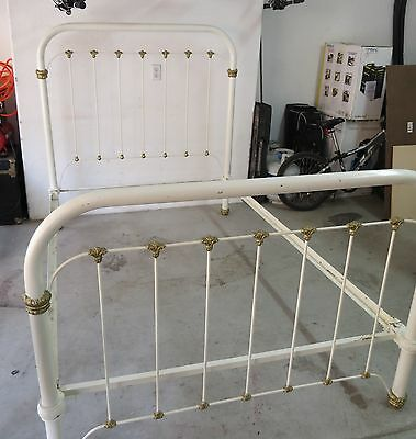 Antique White & Gold Trim Wrought / Cast Iron Complete Twin Bed Set w/Cone Rails
