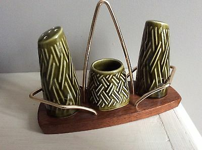Vintage 1960s Wyncraft Lord Nelson Pottery Cruet Set In Stand.