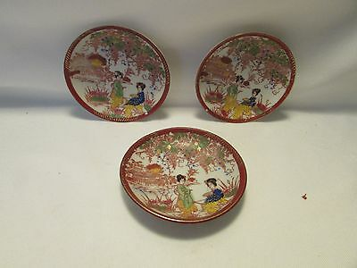 Vintage Set Of Three Beautiful Detailed Chinese Geisha Girl Plates
