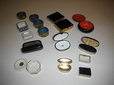 "10 Vintage/Antique Trinket Pill Boxes Porcelain Ceramic Wood & Metal 3""-5""szs"