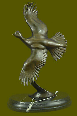 Vintage Juno Collectable Bronze Grouse Quail Birds Cast Metal Sculpture Deco EG