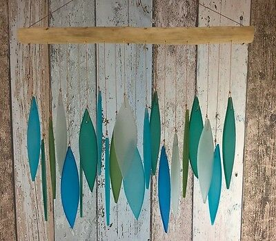 FROSTED GLASS GARDEN MOBILE - Turquoise Colours Fair Trade & Handmade, 25cm long