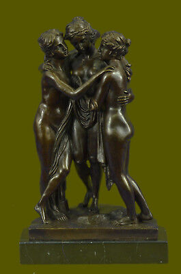 Large three Graces Bronze Sculpture Statue by Canova 13Lbs Figurine Decor EG