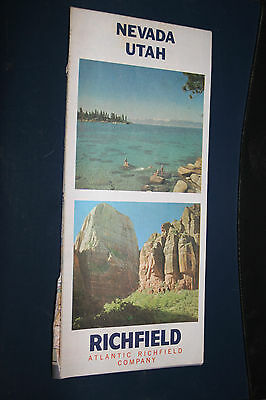 Vintage 1966 Atlantic Richfield Oil Gas Station Road Map Nevada Utah