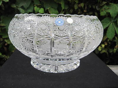 """Vintage Bohemia Queen Lace Hand Cut 24% Lead Crystal  Round Pedestal Bowl 8"""""""