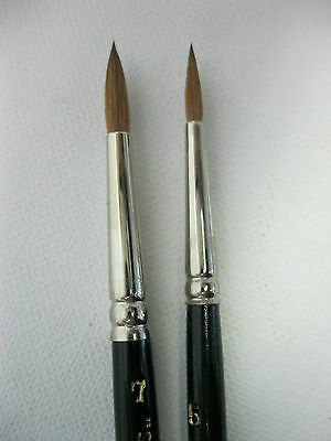 2 PCS PURE  SABLE ARTIST QUALITY WATERCOLOR BRUSH  # 5-7 Made in Germany