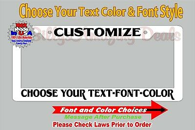 custom text personalized white license plate frame customized plastic tag holder