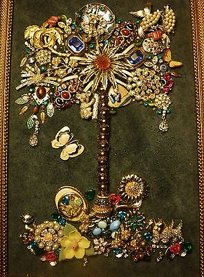 Vintage Jewelry Tree of Life, full of sparkling jewelry , Signed by Artist