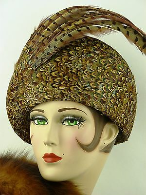 Vintage Hat Jack Mcconnell Pheasant Feather Ladies Hat With Long Plumes, Rf Orig