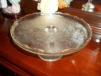 Depression Glass Harp Crystal/gold Cake Stand...excellent Gold Trim!......wow!