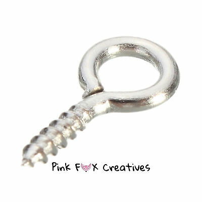 SILVER SCREW EYE PIN FINDING 10mm JEWELLERY CRAFT HOBBY MAKING TREADED BAIL UK