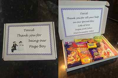 Personalised wedding gift box with sweets for page boy, usher, ring bearer