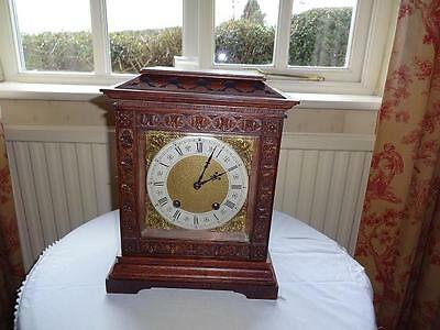 Antique LENZKIRCH Carved Oak TING TANG Bracket Clock : SERVICED & WORKING